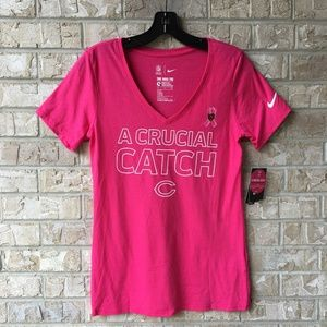 NWT NIKE Chicago Bears Crucial Catch Pink Top S